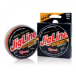 Шнур JigLine MX8 Super Silk 0,16 мм, тест 13 кг, 100 м, оранжевый