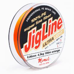 Шнур JigLine Uitra Light 0,06 мм, 4,5 кг, 100 м, оранжевый