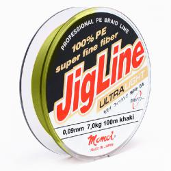 Шнур JigLine Uitra Light 0,09 мм, 7,0 кг, 100 м, хаки