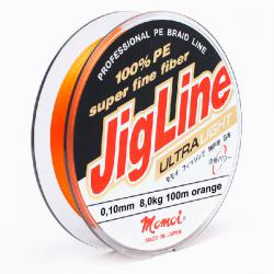 Шнур JigLine Uitra Light 0,10 мм, 8,0 кг, 100 м, оранжевый