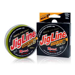 Шнур JigLine MX8 Super Silk 0,19 мм, тест 16 кг, 100 м, зелёный